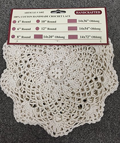 """Creative Linens 6PCS 8"""" Round Crochet Lace Doily Beige 100% Cotton Handmade, Set of 6 Pieces 3 Beige Crochet Lace Doily Set, handmade 8"""" round each piece, Set of 6 pieces Matching crocheted sunflower daisy placemats, table runners, dresser scarf, napkins, tablecloths, kitchen curtains and doilies in different sizes available"""