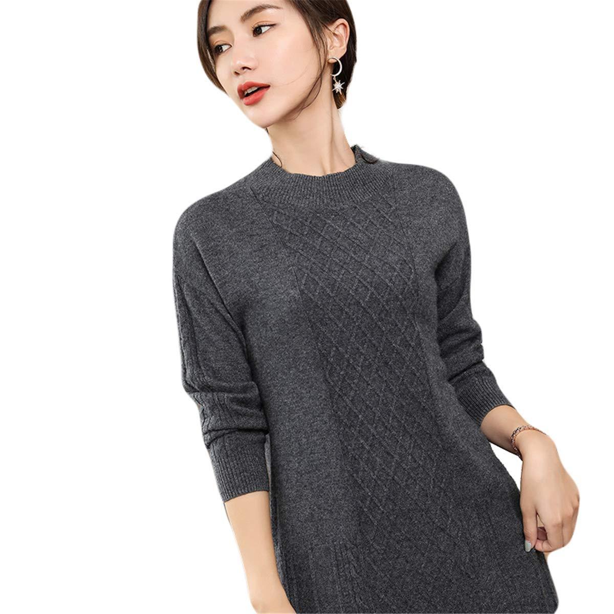 Dark Grey MCieloLuna Women's 100% Cashmere Soft Knit Turtleneck Sweater Dress