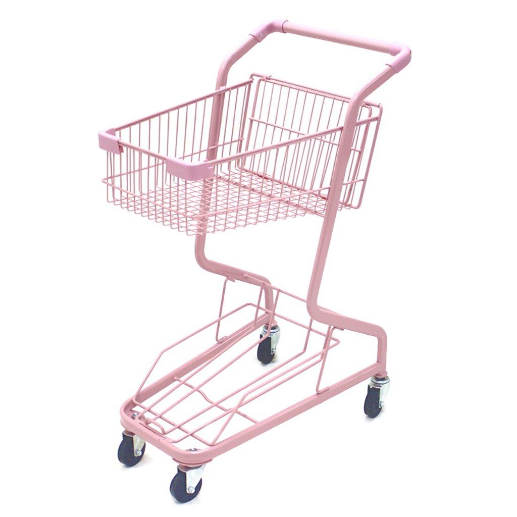 スーパーマーケットの買物車、ハンドトラック、ピンクのトロリー、二重買物かご、家族の車、動かされたトロリー B07RV1Z9RZ
