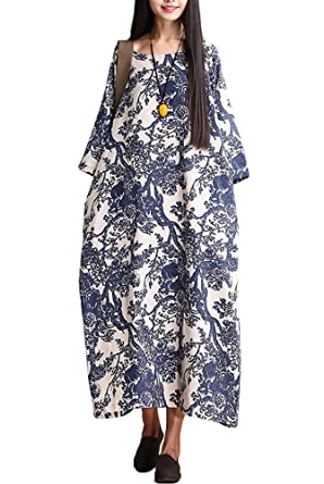 f7c9cf0b761 Mordenmiss Women s Printing Dress Travel Line Clothing Medium Style 1-Blue