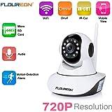 FLOUREON 720P Telecamera IP Camera Senza Fili WiFi - 1.0MP IP Cam ONVIF, Pan/Tilt, P2P, IR Visione Notturna, Rilevamento Del Movimento, Allarme Email, Supporto Micro SD