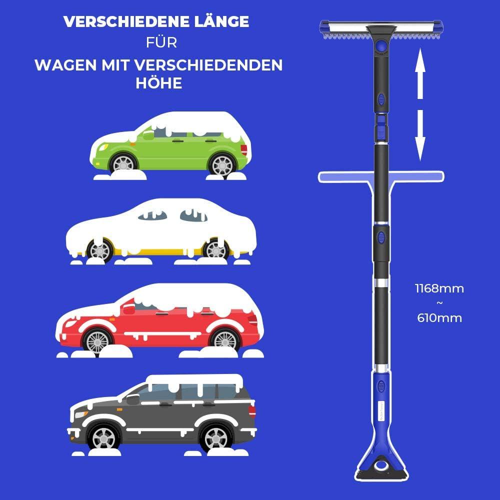 270 /° Schaum Schneeb/ürste mit Rakel 4 in 1 JOYTUTUS Auto Schneeb/ürste mit Eiskratzer Eisschaber Abnehmbar Schnee Pinsel f/ür SUV Auto Truck LKW Bus Kleintransporter