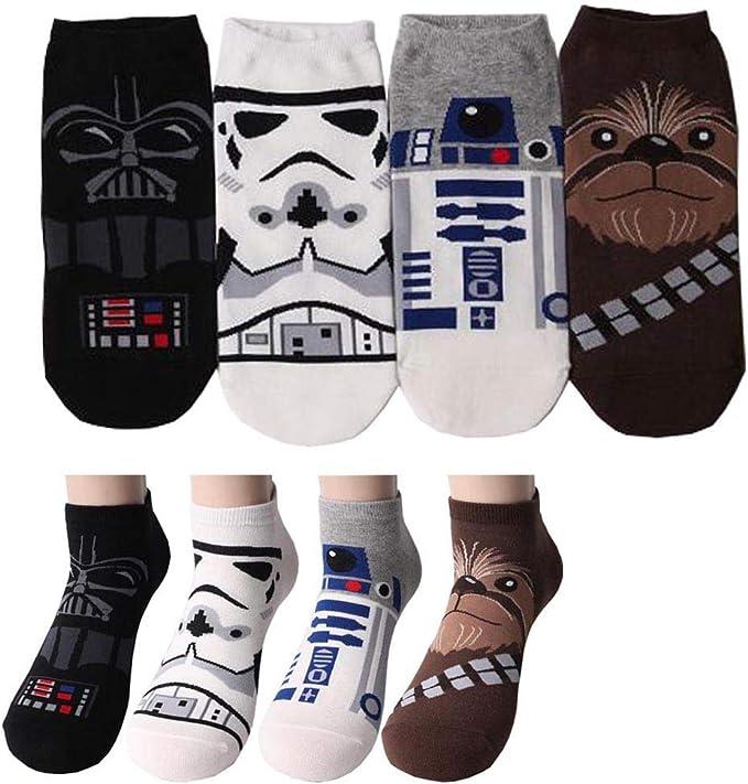 Guerres Des étoiles Star Wars Dessin Animé Drôle Personnage Homme Sneaker Chaussettes Coupe Bas Avec Pochette Cadeau Pack 4 Paires Chaussettes De