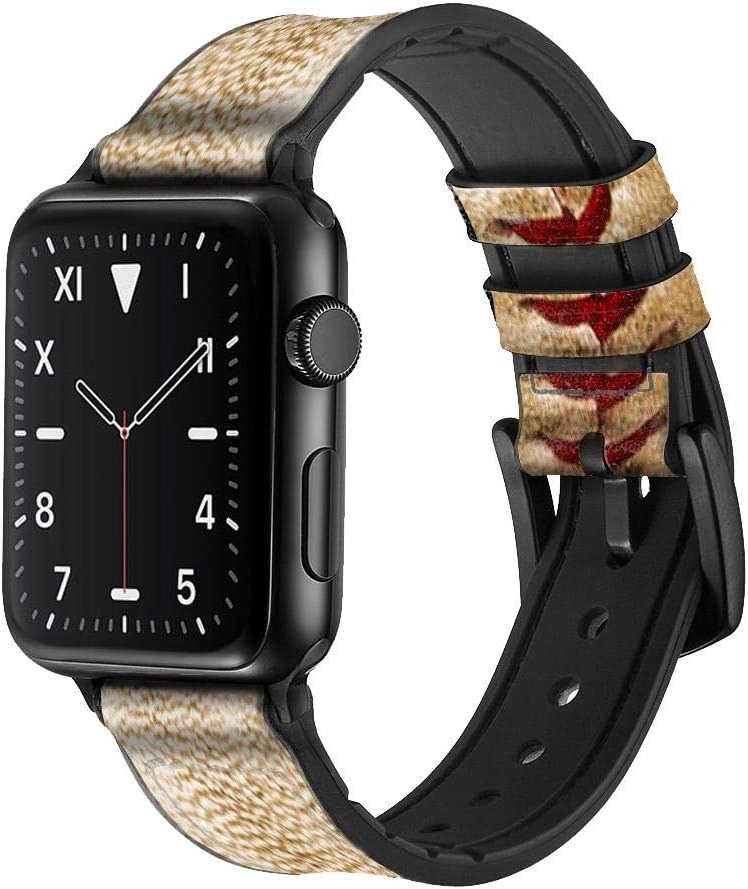 CA0005 Baseball Leather & Silicone Smart Watch Band Strap for Apple Watch iWatch Size 42mm/44mm