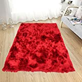 Homemusthaves Soft Fluffy Thick Solid Non-Skin Shaggy Shag Pile Area Rug Carpet (6' x 9', Red)