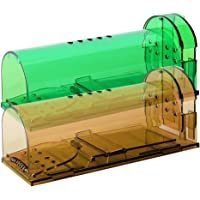 Humane Mouse Trap, Live Mice Trap, Reusable Indoor and Outside Mouse Traps, Kids/Pets Safe, Easy to Set (2, Brown…