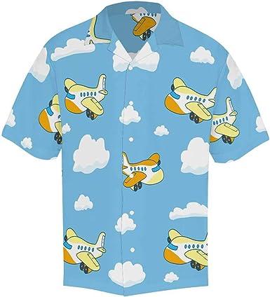 InterestPrint Asian Crane Shirt Short Sleeve Print Button Up Shirt