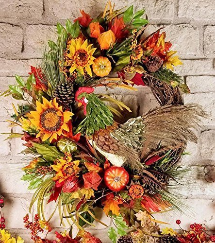 Fall Harvest Rooster Grapevine Wreath, Sunflower Pumpkin Wall Hanging, Pine Cones, Farmhouse Decor, Kitchen, Lanterns, X Large, (Pinecone Lantern)