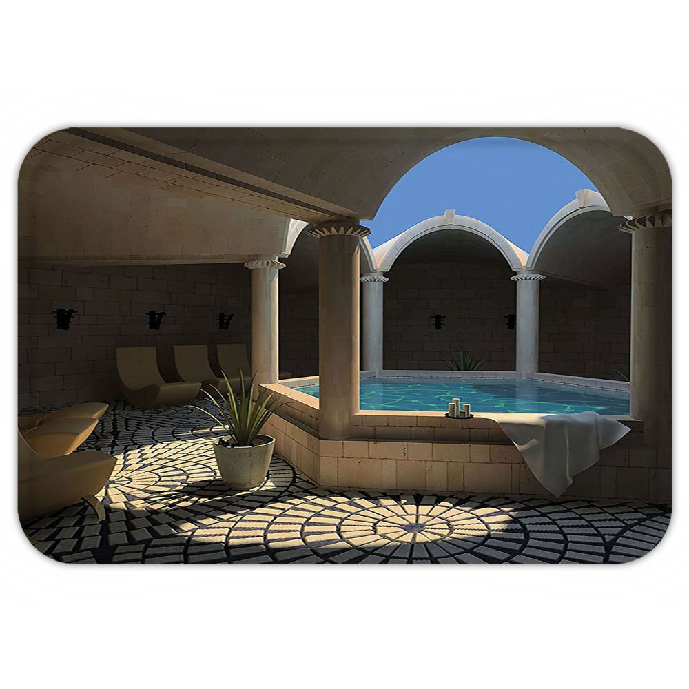 VROSELV Custom Door MatHouse Decor Inside View of A Spa Hotel with Bathtub in the Circle Centre Trendy Therapy Leisure Print Decor Grey Blue