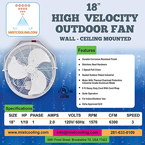 Mistcooling 18 Inch Outdoor Fan UL Rated-6300 Cfm, ()