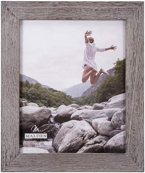 Malden International Designs Rustic Fashion Wide Linear Graywash Wooden Picture Frame, 8x10, Gray