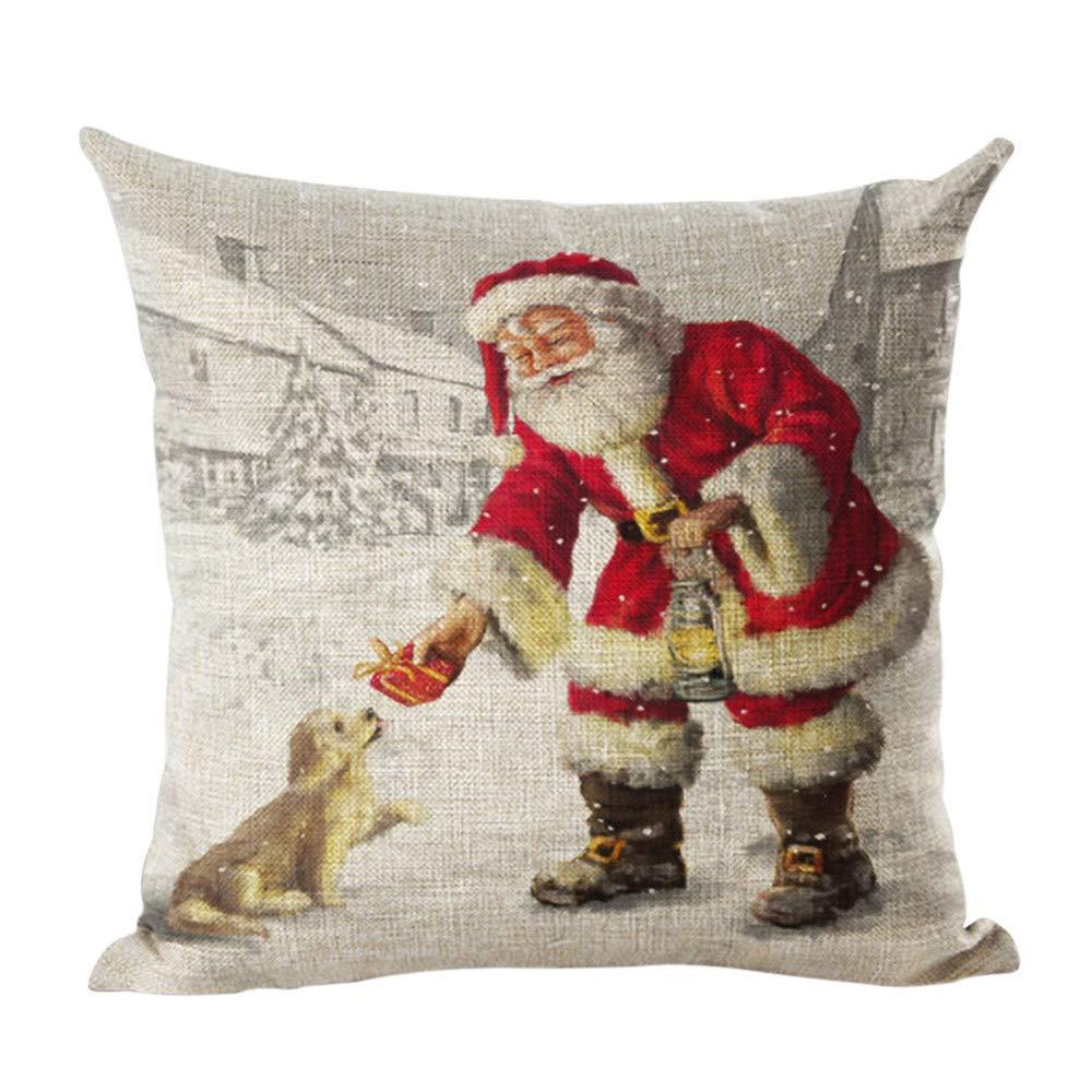 Christmas Holiday Santa Square Vintage Throw Pillow Case Sofa Waist Home Decor 18X18 (A) Sudiy JX-1688