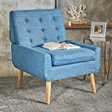 Eonna Buttoned Mid Century Modern Muted Blue Fabric Chair For Sale