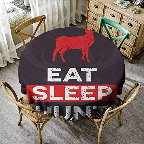 Round polyester tablecloth Hunting Eat Sleep Hunt Inspirational Quote Grunge Retro Deer Silhouette Antlers Kitchen restaurant restaurant party decoration (Round - 39