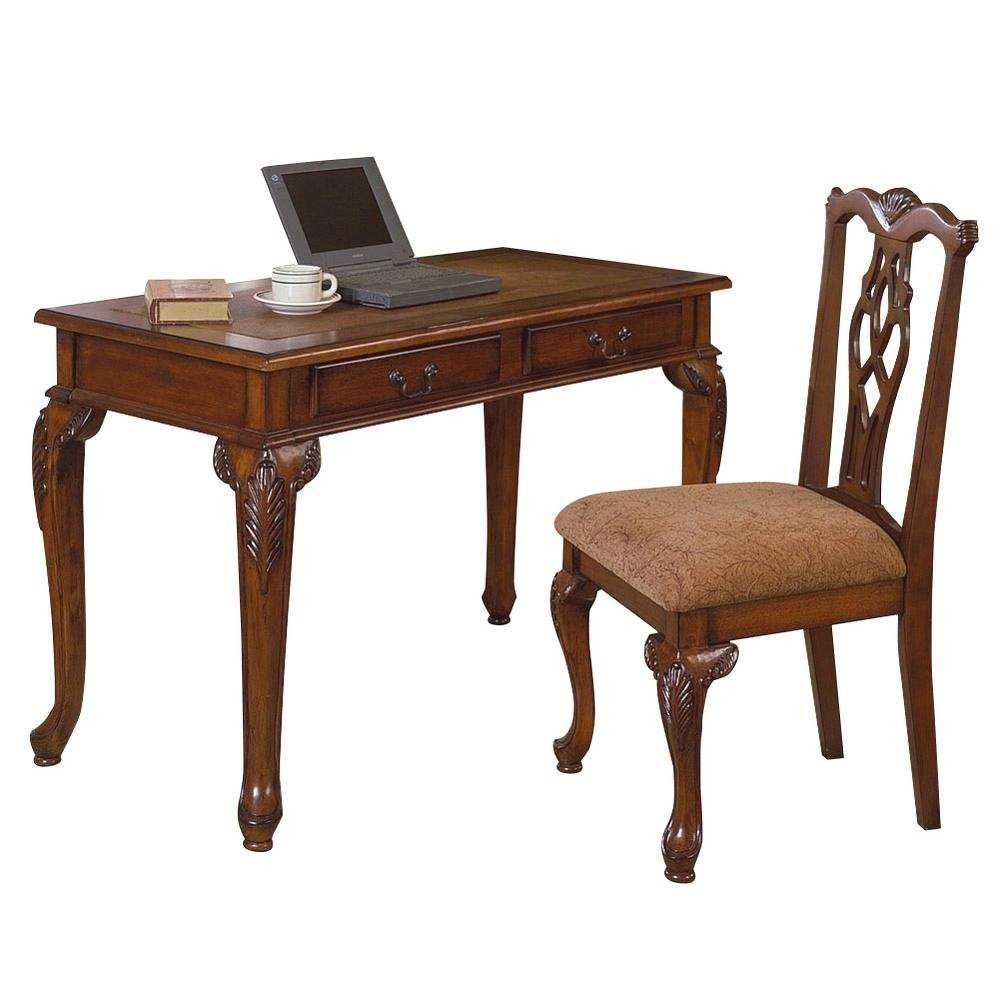Classic Style Walnut Finish 2 Piece Home Office Desk & Chair Set