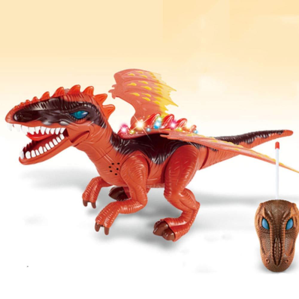 Reducción de precio gikmhyb Juguete De Dinosaurio para Niños con Control Remoto, Modelo De Simulación Animal Inteligente De Sonido Y Luz Regalo De Cumpleaños para Niño,Orange