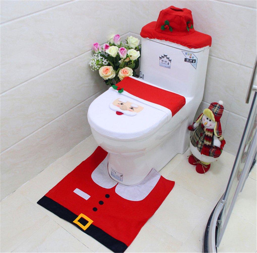 ARDUX 3Pcs/Set Toilet Seat Cover and Rug Bathroom Decoration for Bathroom Christmas Decoration Home Santa Snowman Eco-Friendly (Santa)