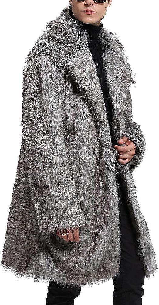 LIYT Mens Faux Fur Coat Warm Long Coat Lapel Overcoat Thick Outerwear Winter Jacket