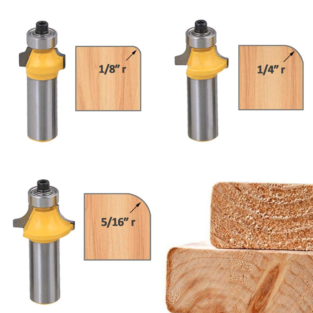 Bestgle Set of 6 Roundover Edging Router Bit Set 1/2-Inch Shank Woodworking Milling Cutter Tools, 1/8'', 1/4'', 5/16'', 3/8'', 7/16'', 1/2''Radius by Bestgle (Image #2)
