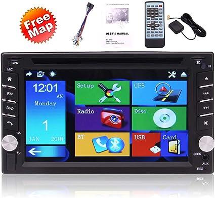 Estéreo de coche con pantalla táctil capacitiva GPS Mapa Doble Din ...
