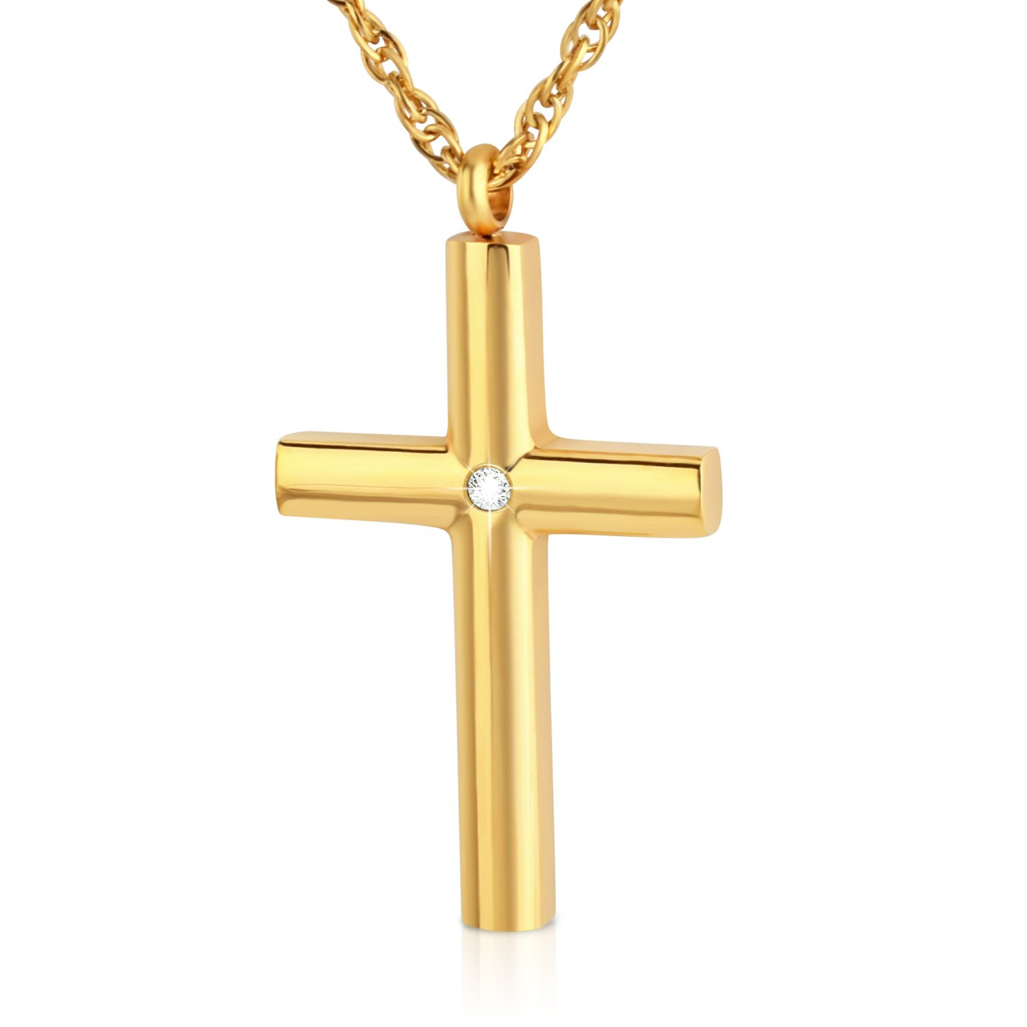 abooxiu Stainless Steel Cross Pendant Necklace With Cubic Zirconia Stone for Men Women Unisex 3 Colors