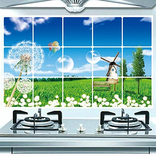 Kaimao DIY Dandelion Pattern Backsplash Oil Proof Wall Sticker Art Decal Murals Removable Wallpapers for Kitchen