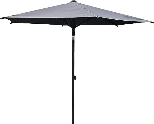 SORARA 9 Ft Aluminum Frame Cafe Umbrella – Market Table Umbrella Patio Umbrella Push to Open, 6 Ribs, Dark Grey