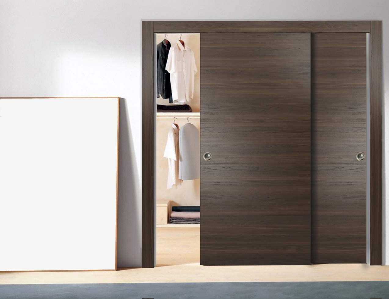 Bypass Closet Doors 72 X 80 Inches With Hardware Planum 0010 Chocolate Ash Wheels Pulls Rails Heavy Sturdy Solid Doors Amazon Com
