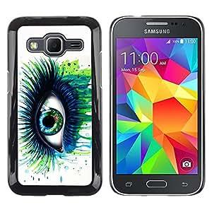 KOKO CASE / Samsung Galaxy Core Prime SM-G360 / ojo azul verde latigazos arte de la acuarela pintura / Delgado Negro Plástico caso cubierta Shell Armor Funda Case Cover