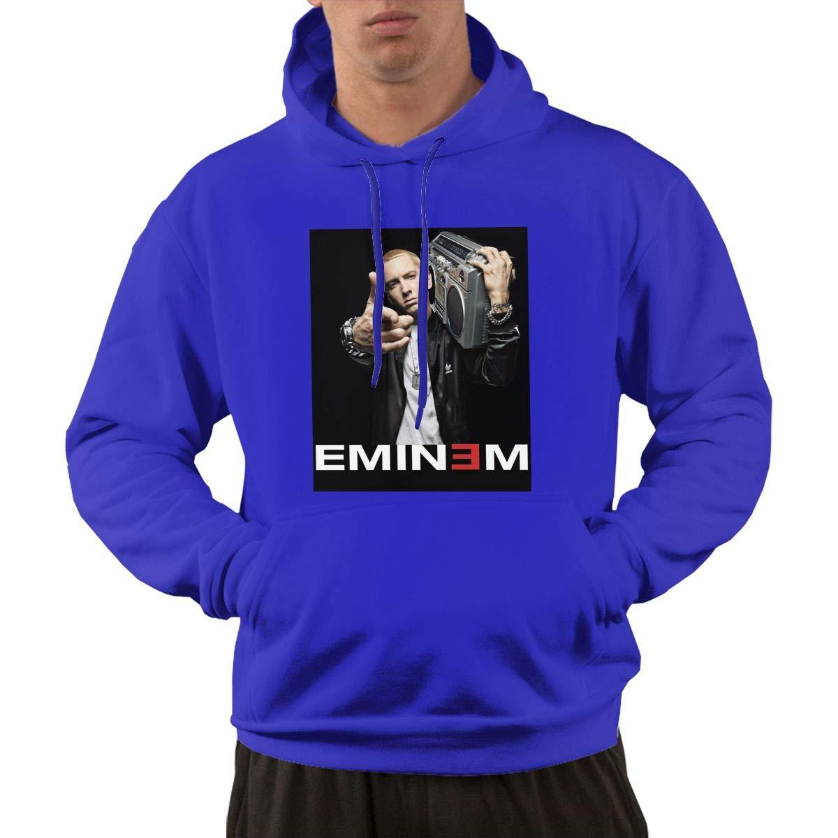 E-Mine-M,Autumn and Winter Sweater Mens Hooded Jacket Kangaroo Pocket Sports Hoodies Black