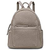 Women Fashion Backpacks Purse Unisex Shoulder Bag Large Functional Handbag For Teen (Woven Sand)