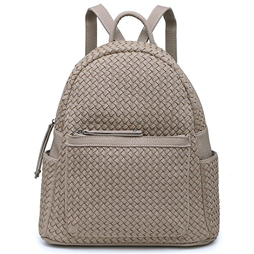 Women Fashion Backpacks Purse Unisex Shoulder Bag Large Functional Handbag For Teen (Woven Sand)