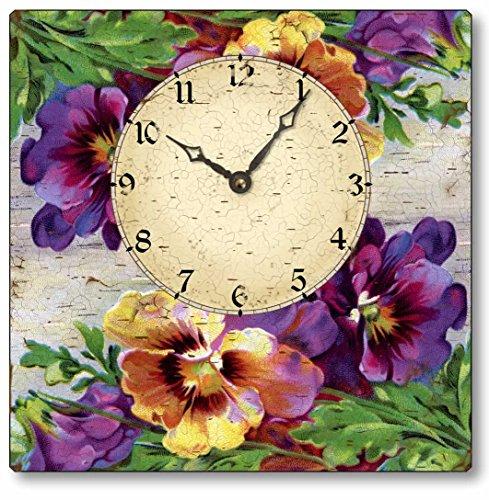 Fairy Freckles Studios Item C4001 Vintage Style Pansies Clock -