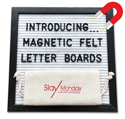 Magnetic White Felt Letter Board with Magnet Frame, Prop Stand and Hanging Wire by SlayMonday - 10 x 10 Inch Black Oak Frame with 525 Changeable Plastic Letters and Emojis, (Felt Wire)