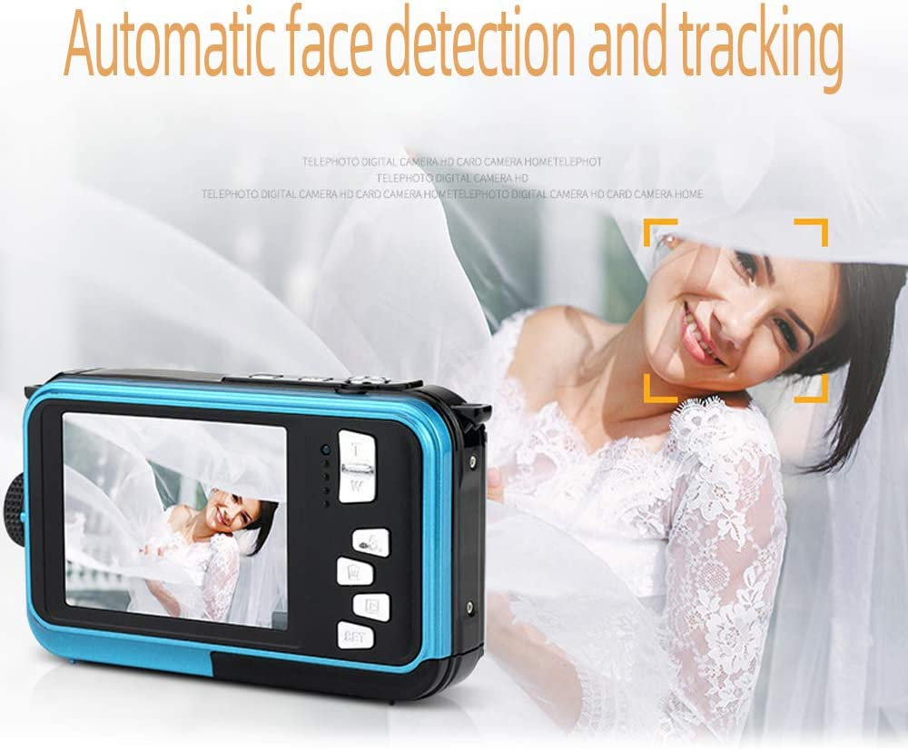 HD Rechargeable Camera with Dual Screen for Camping Swiming Underwater Camera Yellow Underwater Waterproof 2.7K 48MP Digital Camera Underwater Camera for Snorkeling