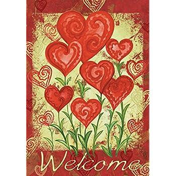 Toland   Garden Hearts   Decorative Valentine Day Welcome Red Love  USA Produced Garden Flag