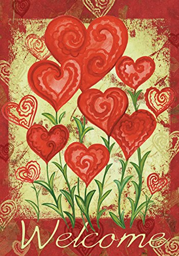 Toland - Garden Hearts - Decorative Valentine Day Welcome Red Love USA-Produced House Flag
