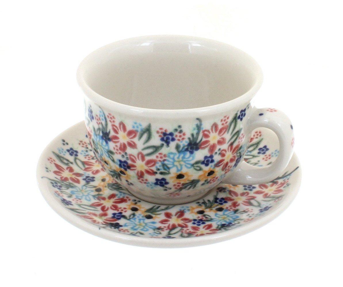 Blue Rose Polish Pottery Tara Cup /& Saucer