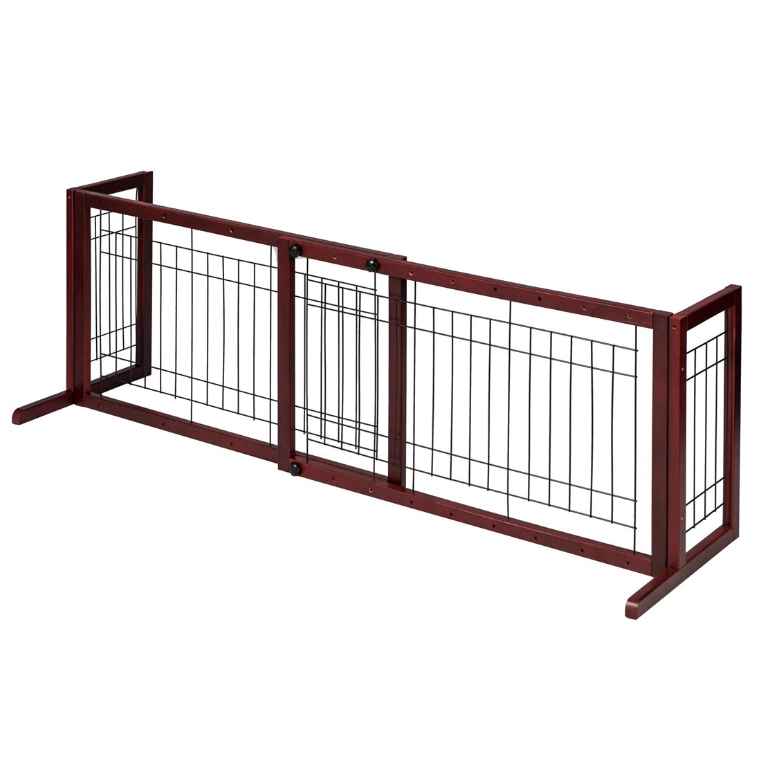 GOOD LIFE Wooden Fence Freestanding Pet Dog Gate Indoor Adjustable Gates for Home Coffee Color 72 Inch PET344