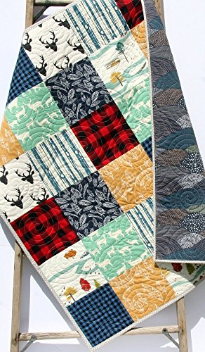 Buffalo Plaid Quilt Modern Baby Bedding Woodland Deer Buck Nursery Bedding Colorful Navy Blue Red Black Gray Lumberjack Nursery Plaid Check Handmade Crib or Toddler Size by Sunnyside Designs