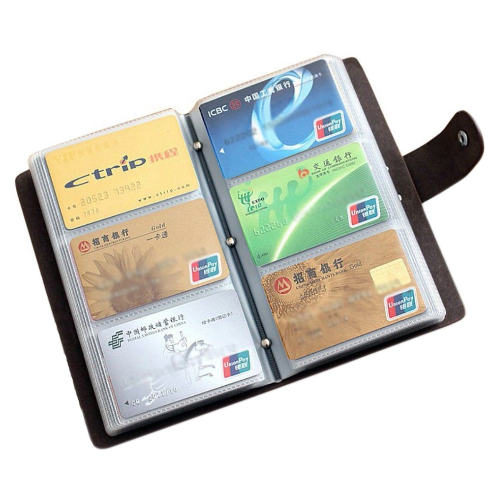 Amazon.com : Boshiho Leather Credit Card Holder Business ID Card ...