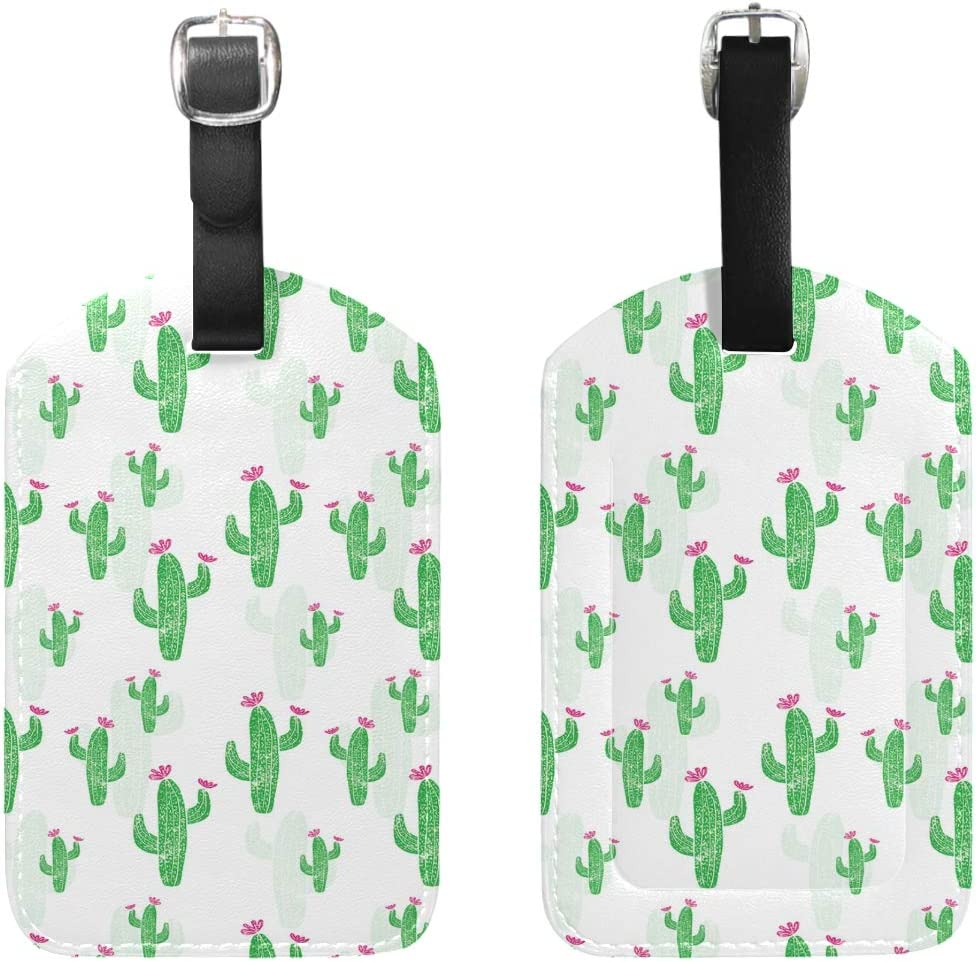 2 Pack Luggage Tags Cactus Cacti Baggage Tag For Travel Bag Suitcase Accessories
