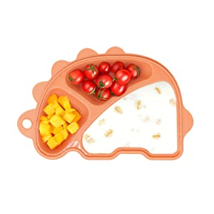 Silicone Suction Plate for Toddlers, Eco-Friendly Food Grade Silicone, Non Slip Pad for Self Feeding Training, Dinosaur Shape Bowl and Dish, for Kids and Infants