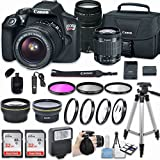Canon EOS Rebel T6 DSLR Camera with EF-S 18-55mm f/3.5-5.6 IS II Lens + EF 75-300mm f/4-5.6 III + 58mm HD Wide Angle Lens + 2.2x Telephoto + 64GB + Filter & Macro Kit + More Accessories