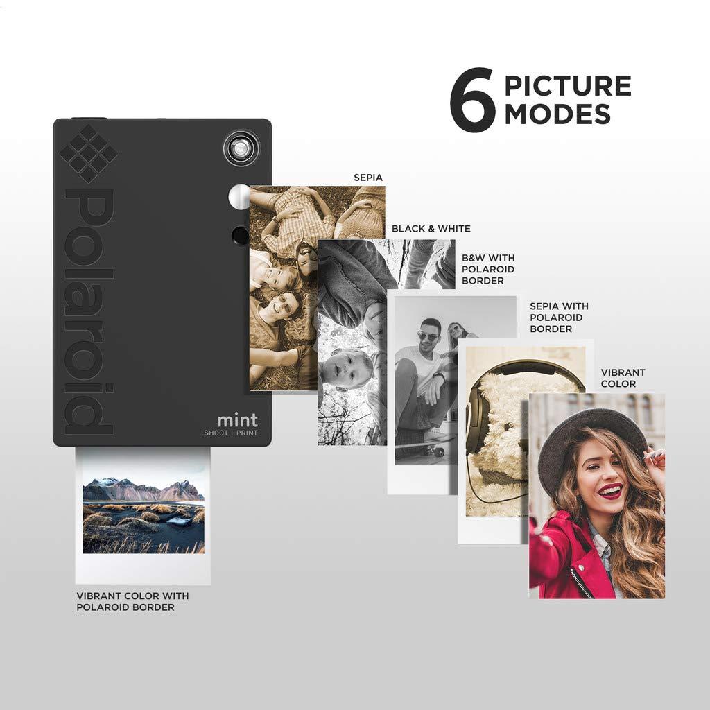 Polaroid Mint Instant Digital Camera (Black) Art Bundle + Paper (20 Sheets) + 8x8 Cloth Scrapbook + Pouch + 12 Twin Tip Markers + 100 Border Stickers + 6 Decorative Scissors + Washi Tape by Polaroid (Image #5)