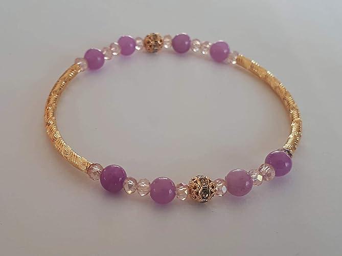 31c8cd0d1e23 Pulsera dama Jade y oro laminado  Amazon.com.mx  Handmade
