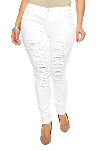 d13e050a2c3 Jack David Womens Plus Size Ripped Skinny White Denim Jeans Distressed  Stretch Pants at Amazon Women's Jeans store