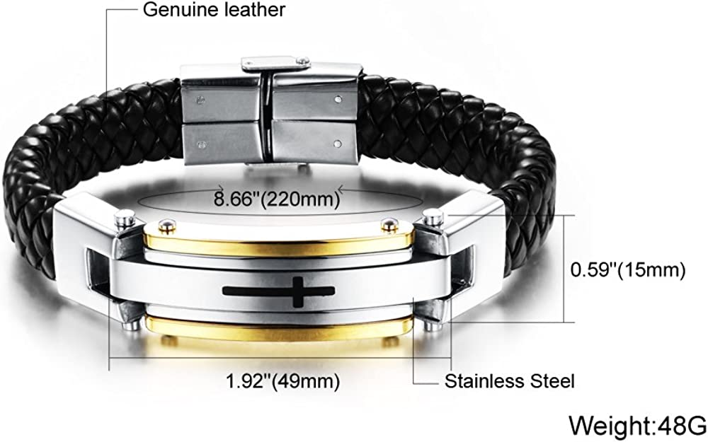 OPK Men/'s Black Leather Bracelet Stainless Steel Fashion Braided Cross Bangle US