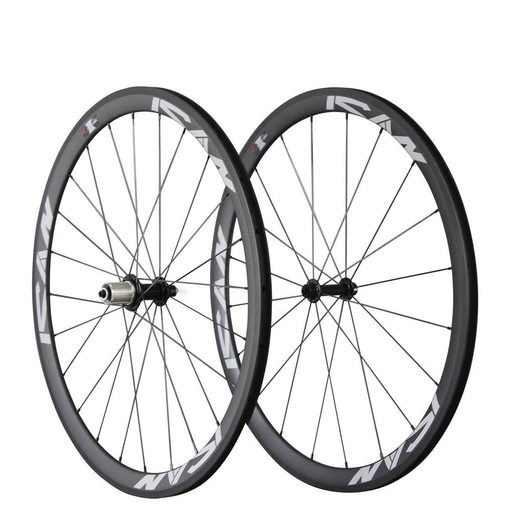 ICAN Carbon Road Bike 700C Wheelset Clincher 38mm Rim Sapim CX-Ray Spokes Only 1350g ( Best for: Climbing and Sprinting )
