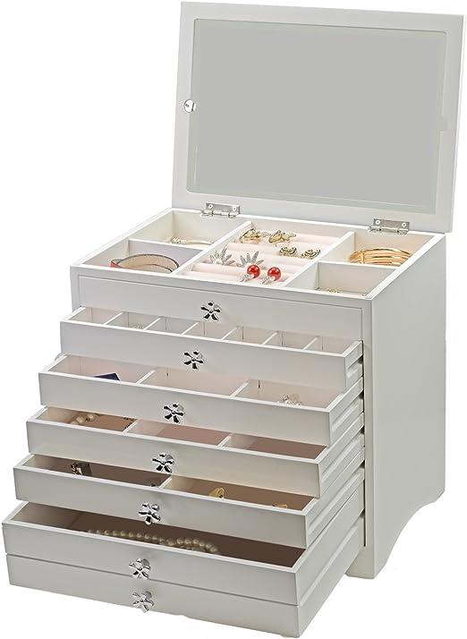 imaxxtool Joyas Caja de Madera lacada en Blanco – Caja Joyero ...